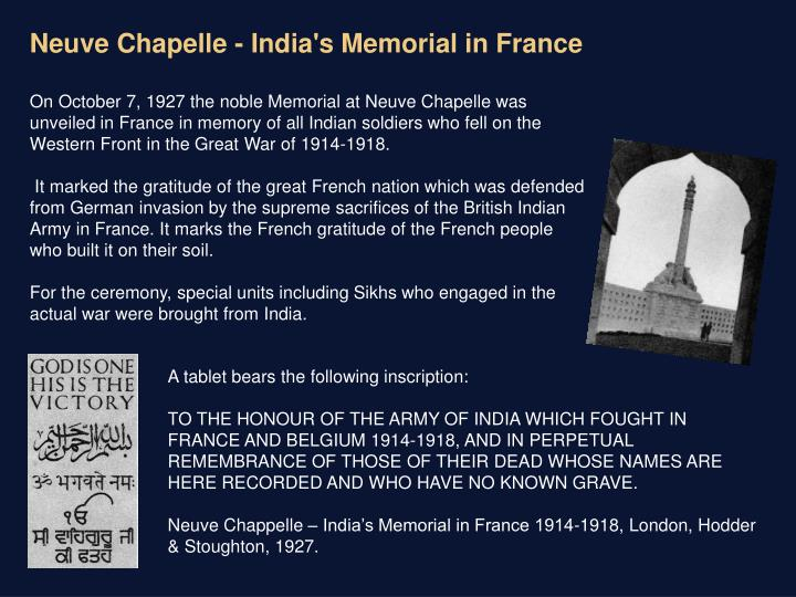Neuve Chapelle - India's Memorial in France