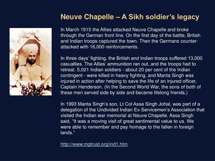 Neuve Chapelle – A Sikh soldier's legacy