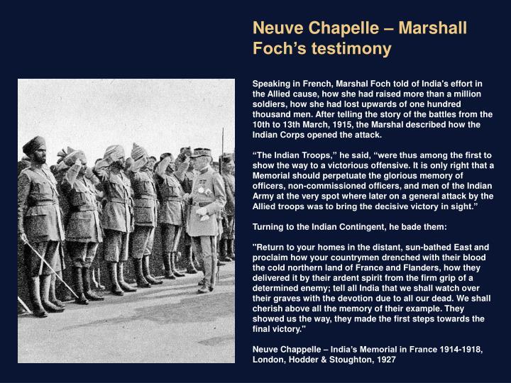 Neuve Chapelle – Marshall Foch's testimony