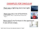 examples for singular