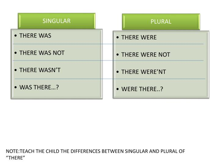 "NOTE:TEACH THE CHILD THE DIFFERENCES BETWEEN SINGULAR AND PLURAL OF ""THERE"""