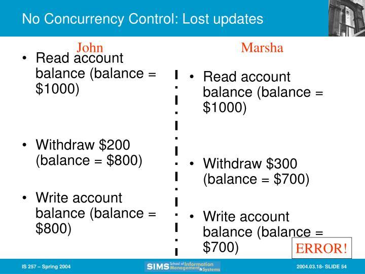 Read account balance (balance = $1000)