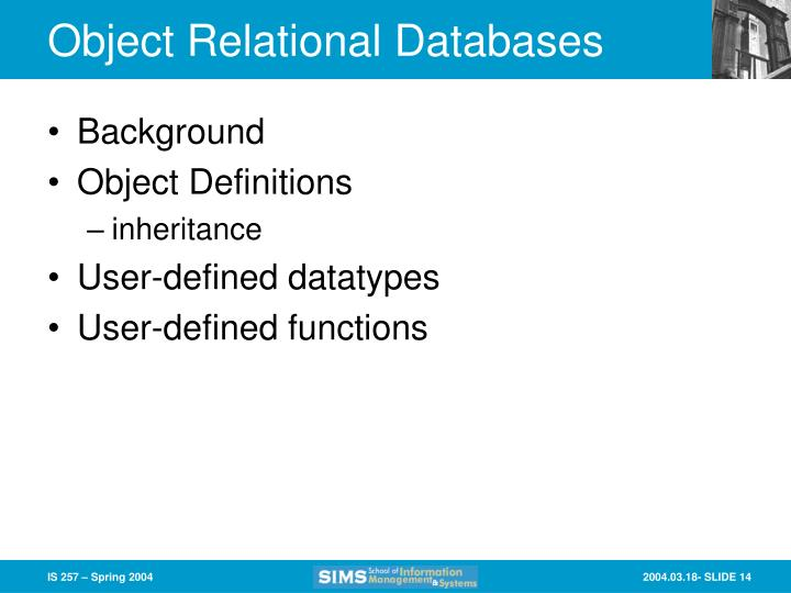 Object Relational Databases