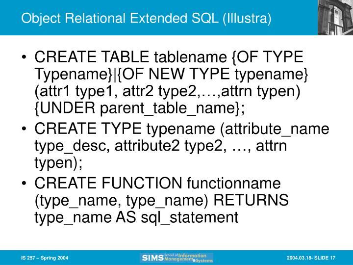 Object Relational Extended SQL (Illustra)