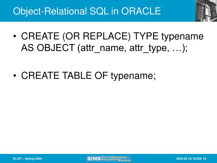 Object-Relational SQL in ORACLE