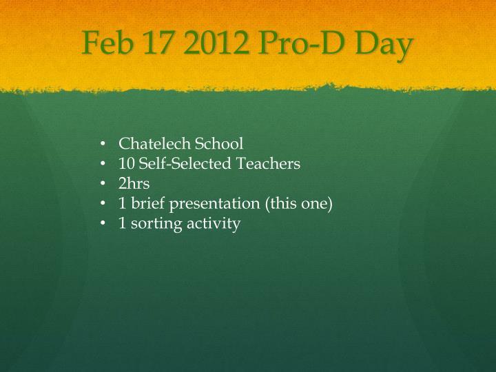 Feb 17 2012 Pro-D Day