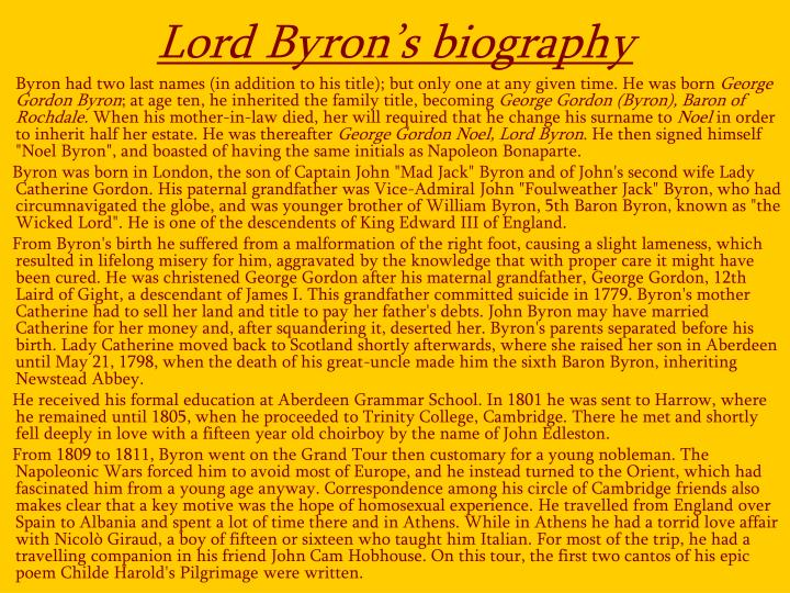 Lord Byron's biography