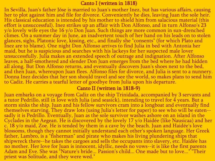 Canto I (written in 1818)