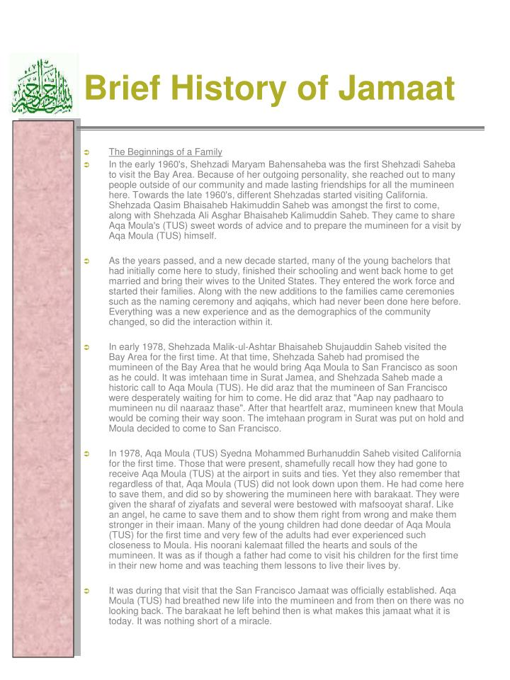Brief History of Jamaat