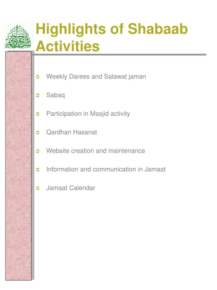 Highlights of Shabaab Activities