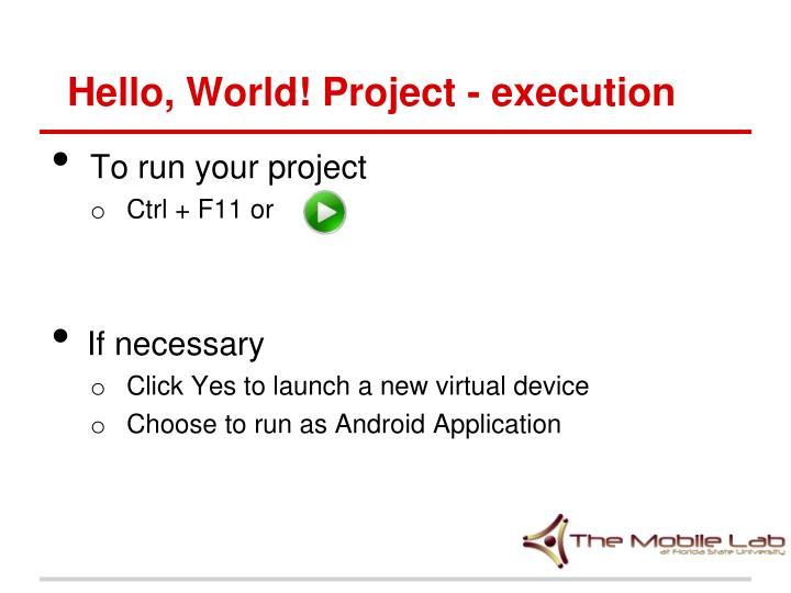 Hello, World! Project - execution