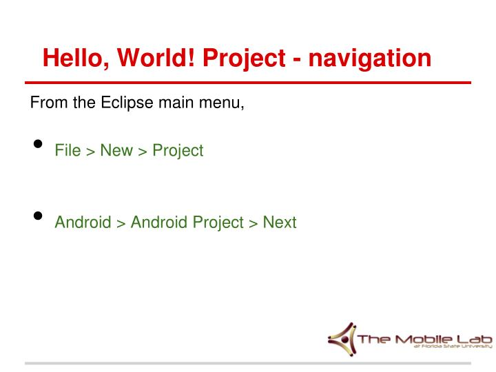 Hello, World! Project - navigation