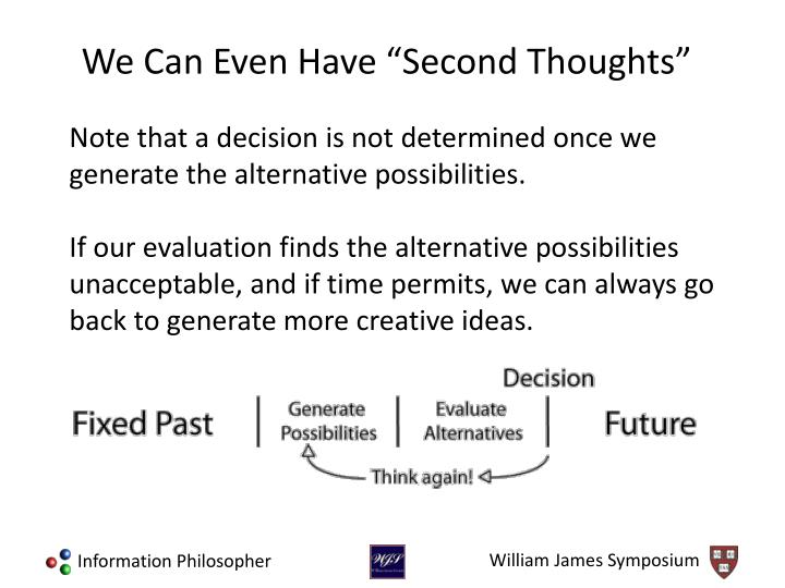 Note that a decision is not determined once we generate the alternative possibilities.