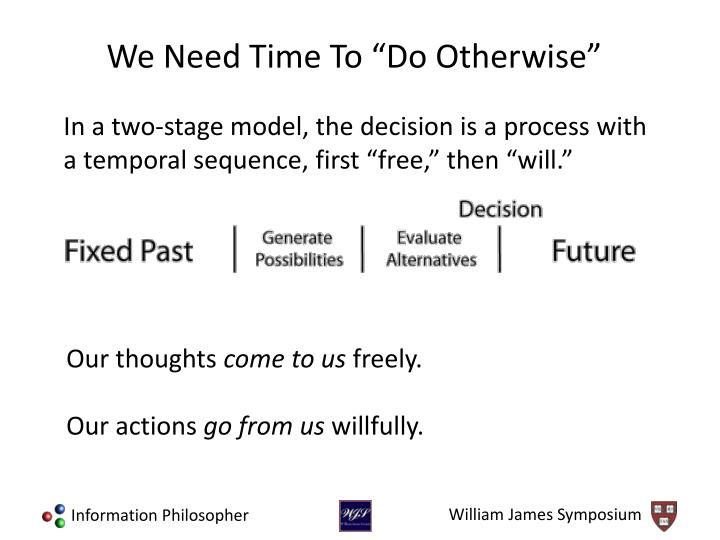 "In a two-stage model, the decision is a process with a temporal sequence, first ""free,"" then ""will."""