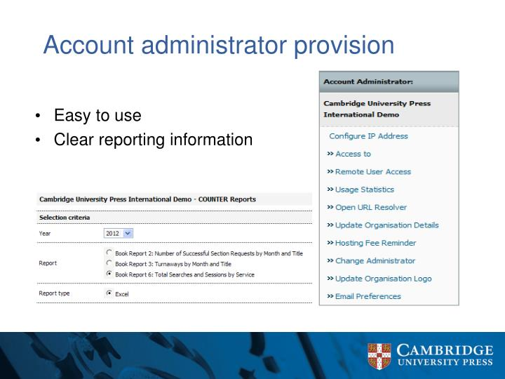 Account administrator provision