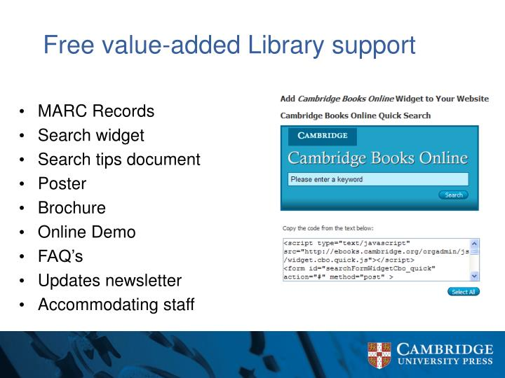 Free value-added Library support