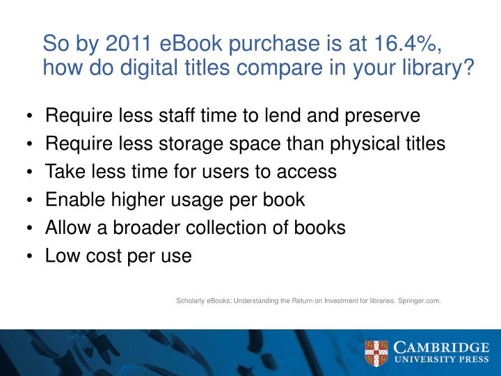 So by 2011 eBook purchase is at 16.4%, how do digital titles compare in your library?