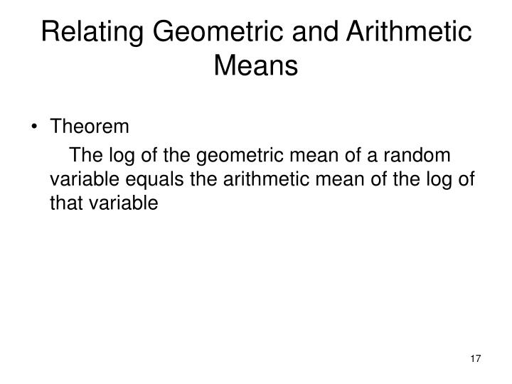 Relating Geometric and Arithmetic Means