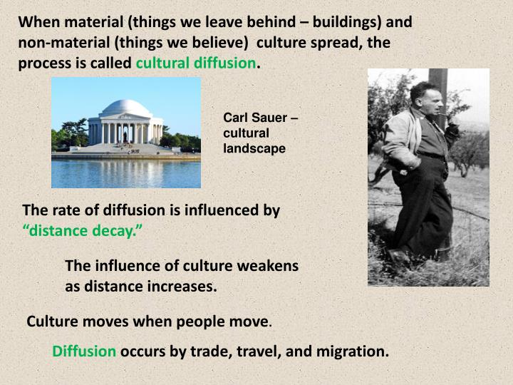 When material (things we leave behind – buildings) and non-material (things we believe)  culture spread, the process is called