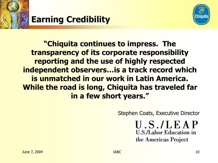 Earning Credibility