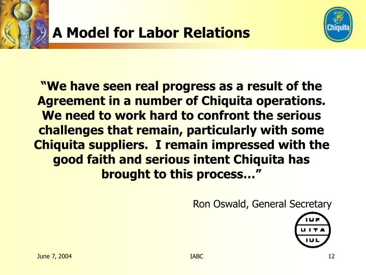 A Model for Labor Relations