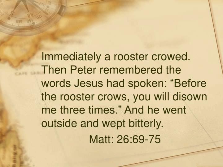 """Immediately a rooster crowed.  Then Peter remembered the words Jesus had spoken: """"Before the rooster crows, you will disown me three times."""" And he went outside and wept bitterly."""