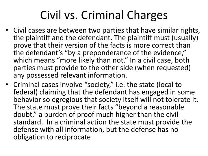 Civil vs criminal charges
