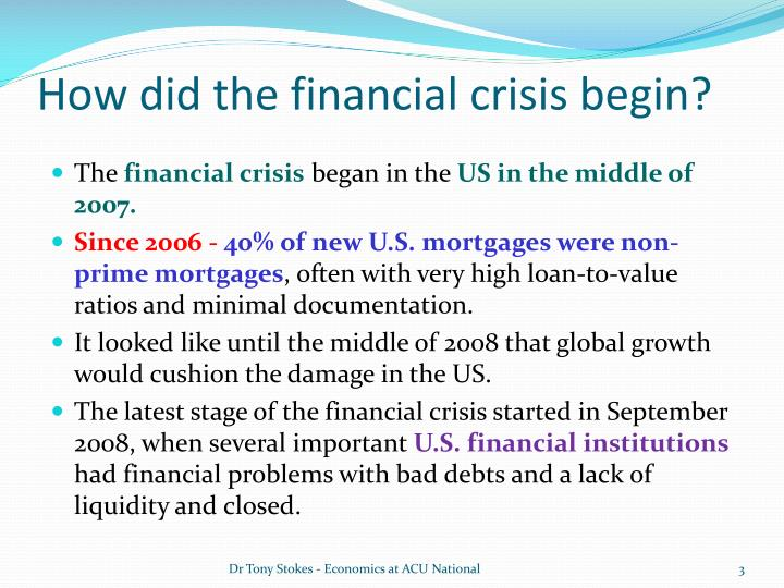 causes of financial crisis 2008 essay Causes of the financial crisis the financial crisis of 2008 rocked the global economy as one major investment bank went bankrupt, other american financial services institutions were in poor health due to their own banking practices.