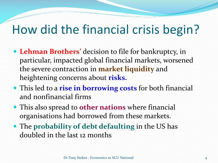 global financial crises effects in the Topic : causes and effects of the global financial crisis of 2007-09, with special reference to the impacts on financial markets and financial institutions.
