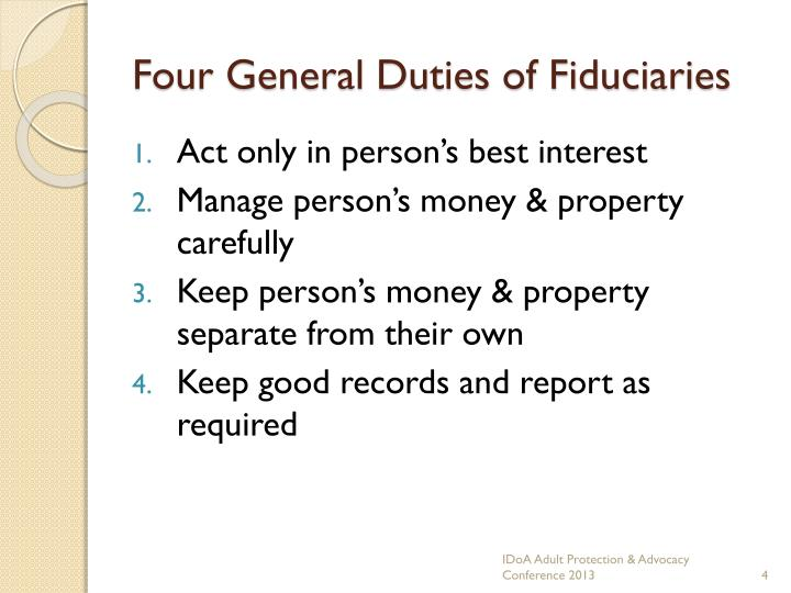 Four General Duties of Fiduciaries