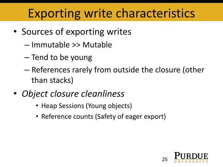 Exporting write characteristics