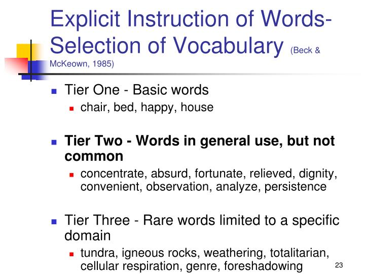 Explicit Instruction of Words-Selection of Vocabulary