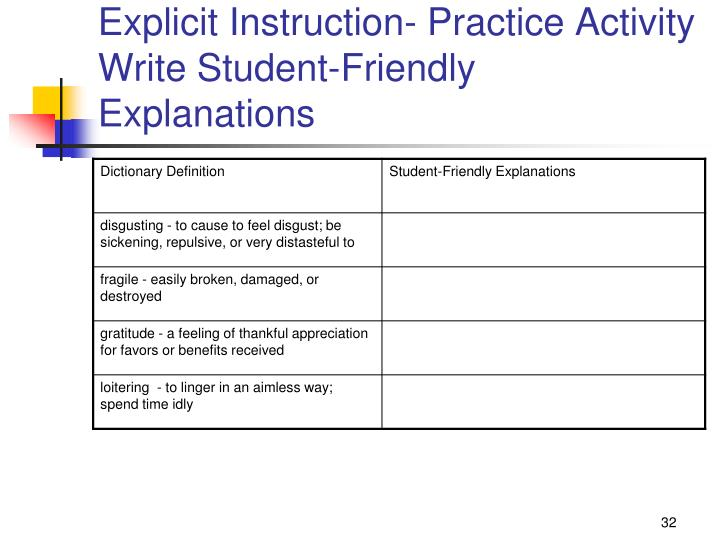Explicit Instruction- Practice Activity