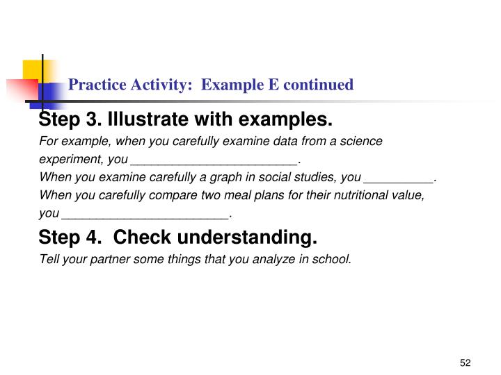 Practice Activity:  Example E continued