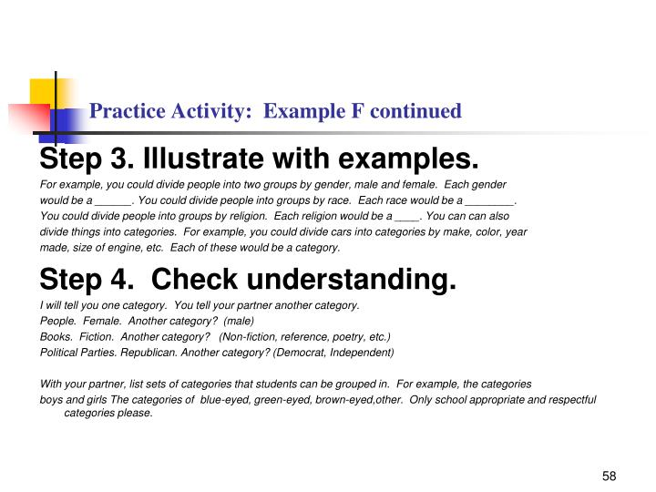 Practice Activity:  Example F continued