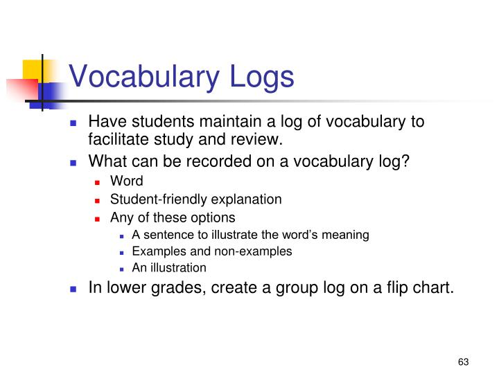Vocabulary Logs