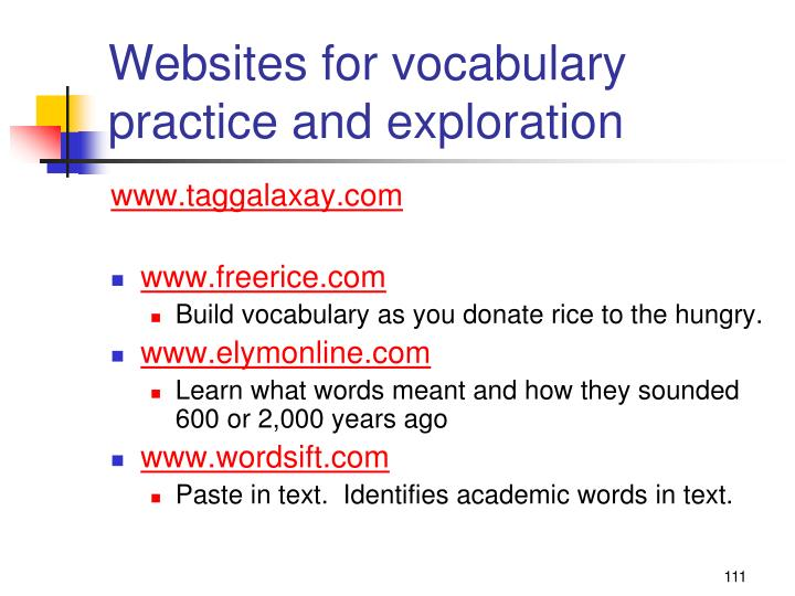 Websites for vocabulary practice and exploration