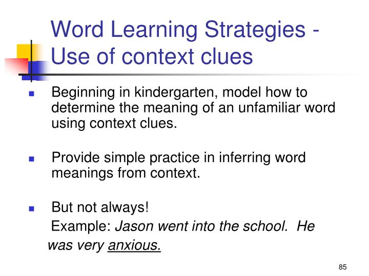 Word Learning Strategies -