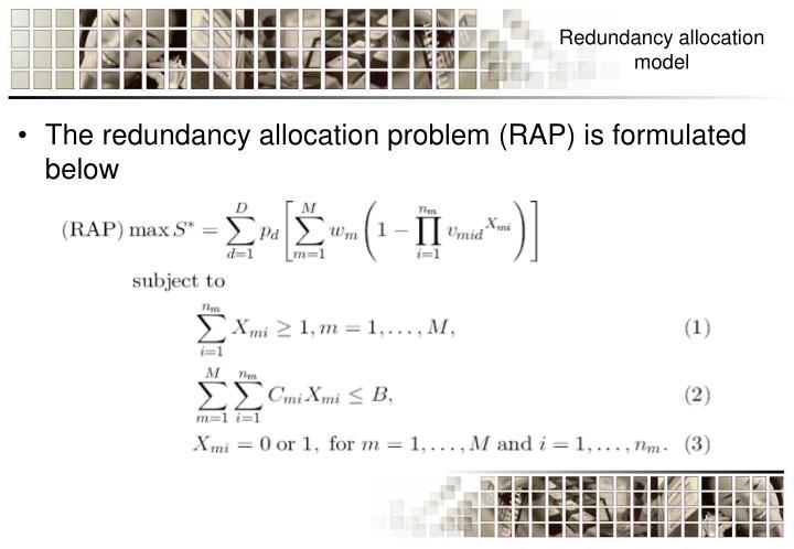 Redundancy allocation model