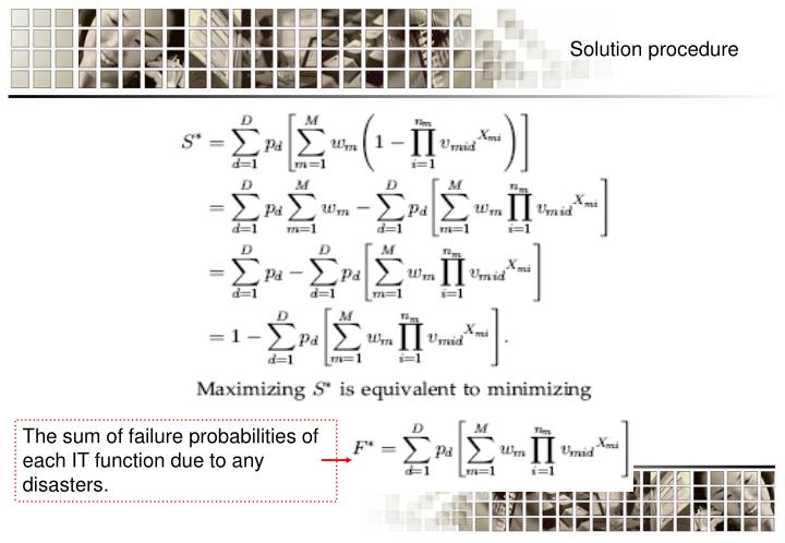 The sum of failure probabilities of each IT function due to any disasters.
