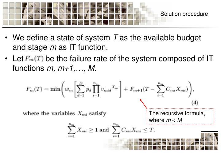 The recursive formula, where