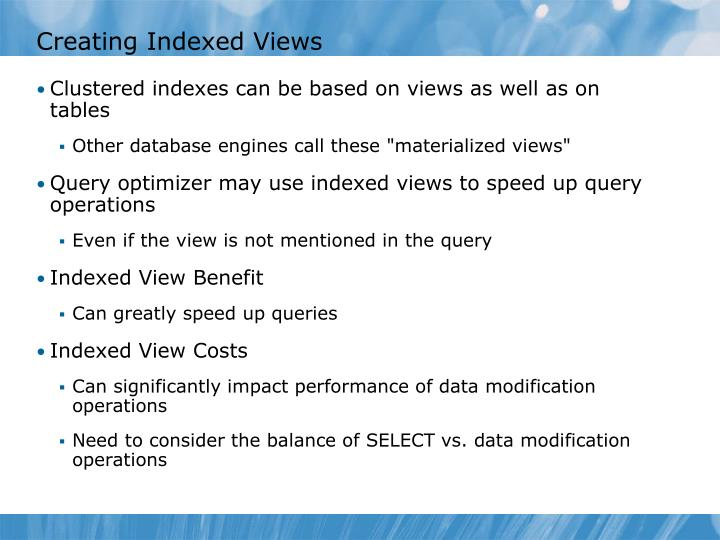Creating Indexed Views