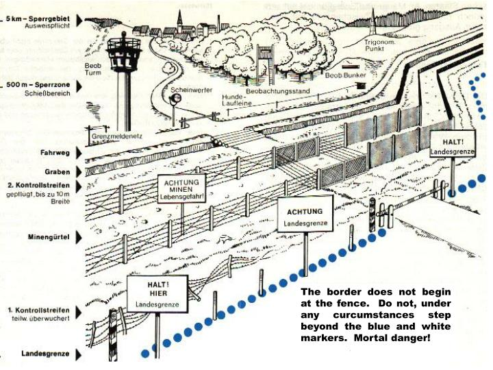 The border does not begin at the fence.  Do not, under any curcumstances step beyond the blue and white markers.  Mortal danger!