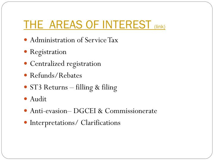 The areas of interest link