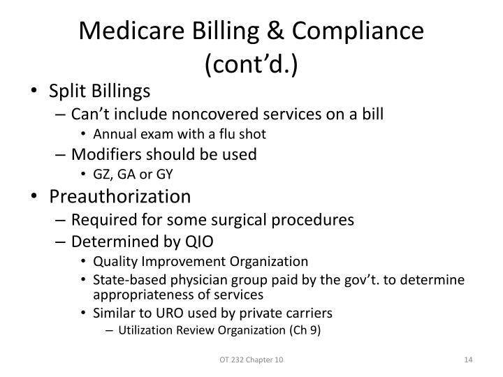 Medicare Billing & Compliance (cont'd.)