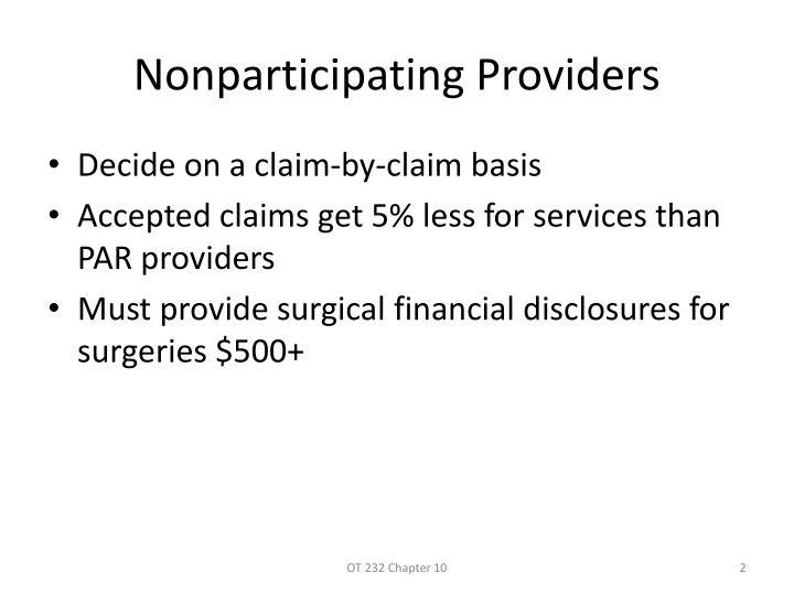 Nonparticipating Providers