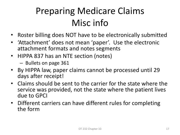 Preparing Medicare Claims
