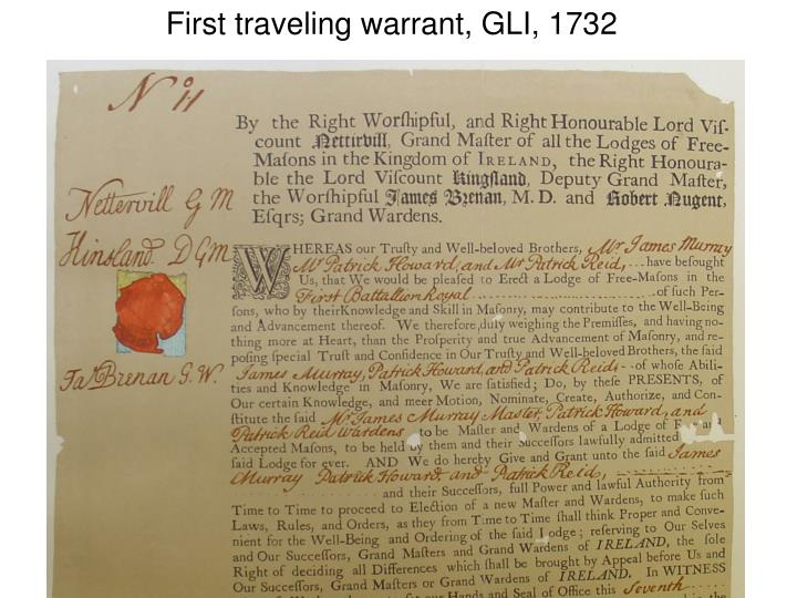 First traveling warrant, GLI, 1732