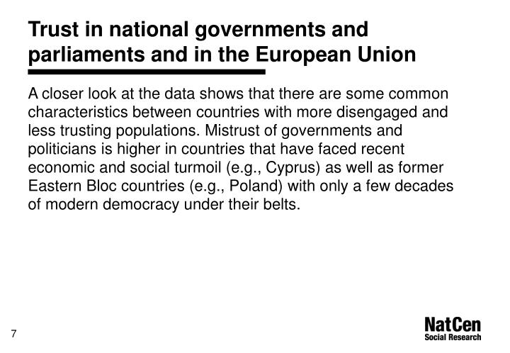 Trust in national governments and parliaments and in the European Union