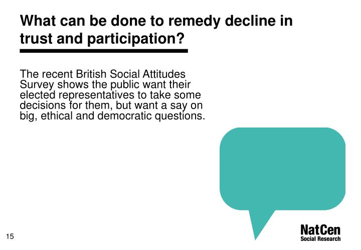 What can be done to remedy decline in trust and participation?